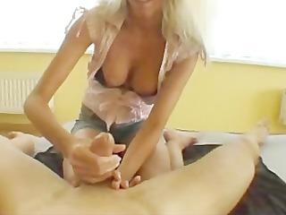 lady gives worshiping handjob