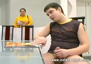 russian aged mommy and son sex in dining room -