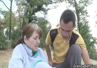 he is heals grandma with the vigour of his cock