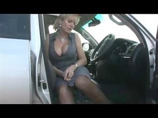 slutty inside nylons into the car