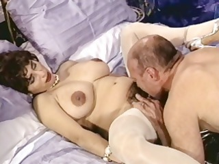 busty brunette grownup with shaggy kitty trades