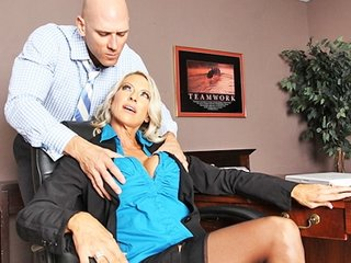 giant breast blond lady boss into pantyhose bang