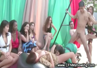 cfnm host acquires creamed while eating love