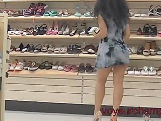 my housewife panty & shoe shopping upskirt!