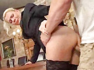 cougar mama inside brown nylons drives cock