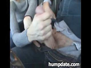 lucky man obtains nice handjob inside his car