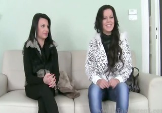 threesome having fuck on leather daybed