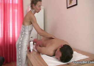 granny masseuse receives her hairy aperture nailed