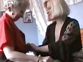 two grannies enjoy into lingerie and pantyhose