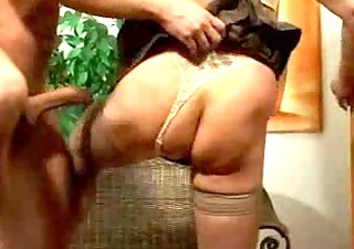 breasty golden-haired mature in stockings fucks