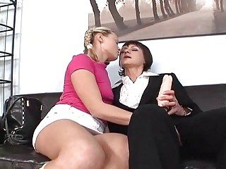 pale young and brunette momma pleasing with