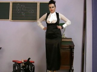 busty woman dressing on satin fucks machine