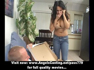 awesome latino lady does dick sucking for pizza