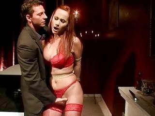 naughty redheaded woman takes bondaged and banged
