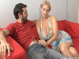 large boobed lady obtains a big cumshot