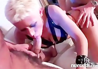 freaky bitch in leather loves arse to face hole