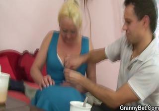 blond granny receives her bushy cunt slammed