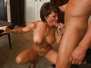 super brunette lady with giant bossom licking