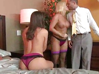 woman into bustiers and panties have a three