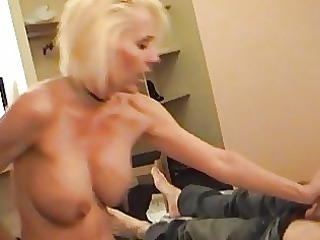 slutty blond momma in slim and pantyhose drives