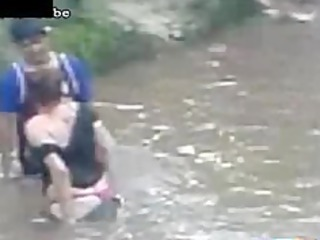 naughty lady copulates a guy into the river