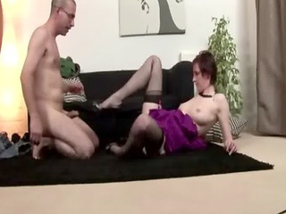 grown-up european amateurs fuck on couch with