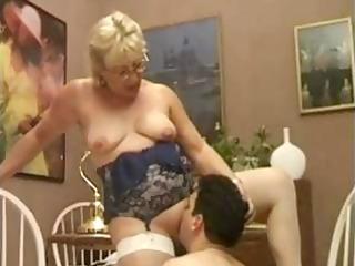 fat mature blonde tutor eats his fresh libido and