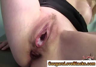 older couger interracial fuck and creampie