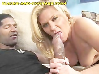stunning cougar amazed by big brown cock