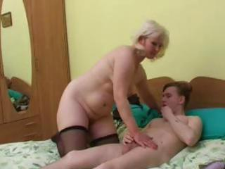 heavy mature blonde inside the military makes out