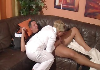 busty older blonde sucks dick and acquires