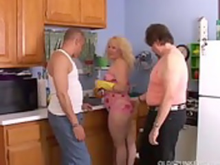 pretty heavy milf spit roasted inside the kitchen