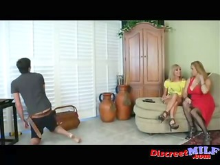 two milfs give cable teenager handjob