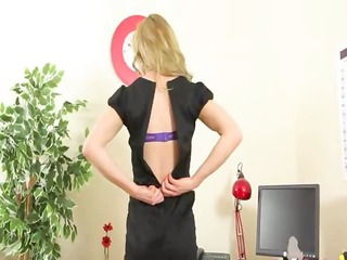 stunning secretary undress and stripping