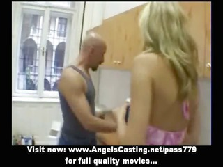 inexperienced charming blonde bride sweet talking