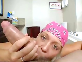 horny blond maiden into pov act licking and