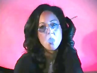 leather gloved smoking woman