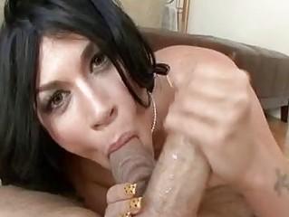 balls tasting bleached brunette lady inside high