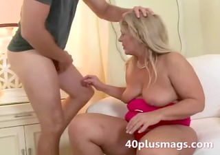 chunky blond wife takes youthful guy